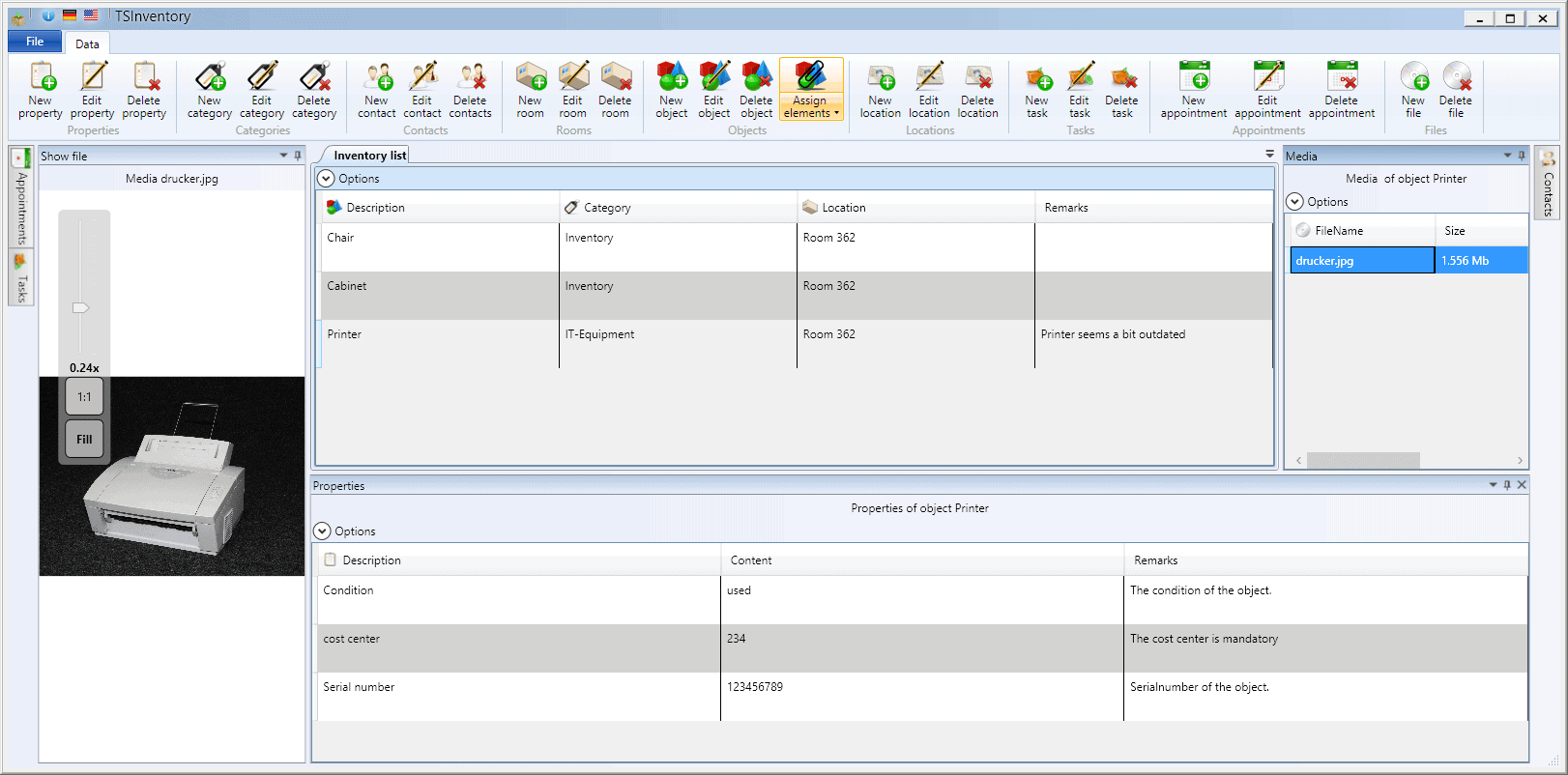 Screenshot of the mainwindow inventorymanagement TSInventory